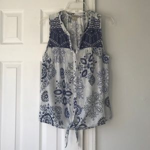 Lucky Brand Tie Front Sleeveless Top